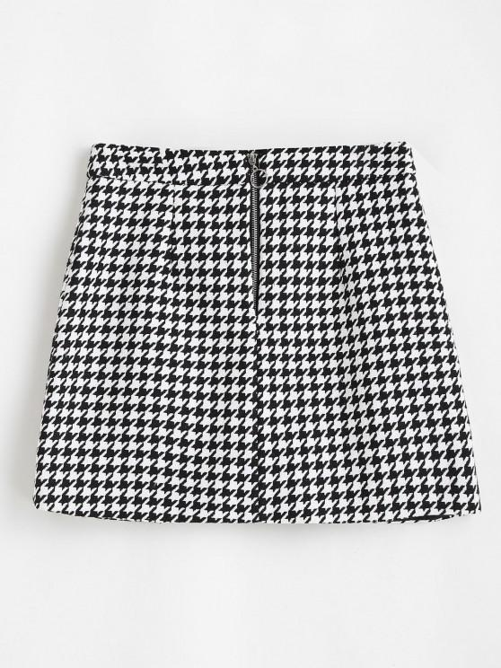 outfit Houndstooth Zip Front Tweed Skirt - BLACK M