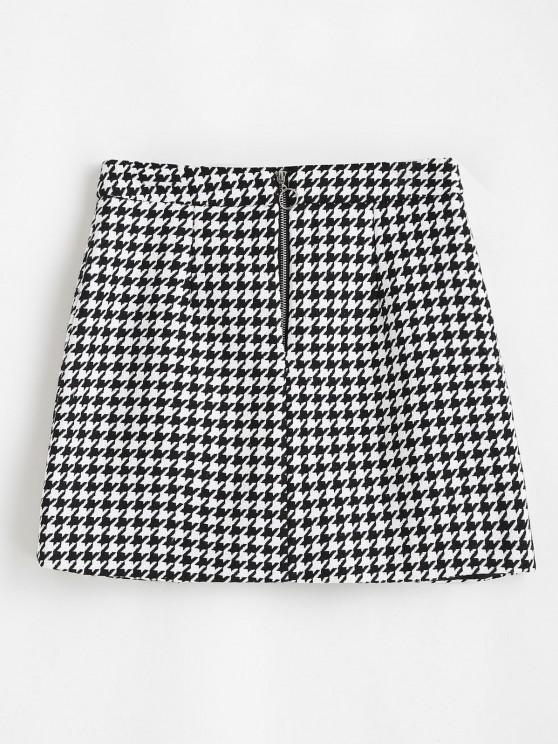 latest Houndstooth Zip Front Tweed Skirt - BLACK S
