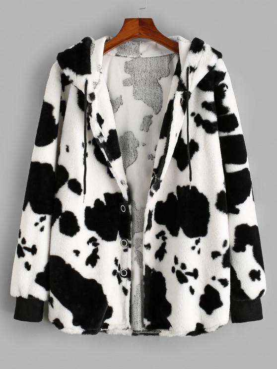 women's ZAFUL Hooded Cow Pattern Fluffy Jacket - WHITE 2XL