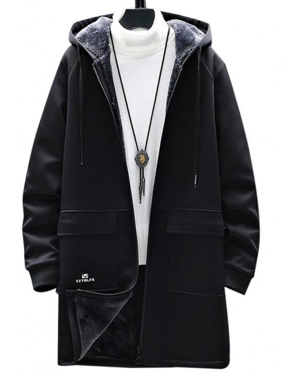 affordable Zip Up Slogan Graphic Fleece Lined Hoodie Coat - BLACK XS