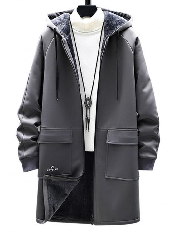 women's Zip Up Slogan Graphic Fleece Lined Hoodie Coat - GRAY XS