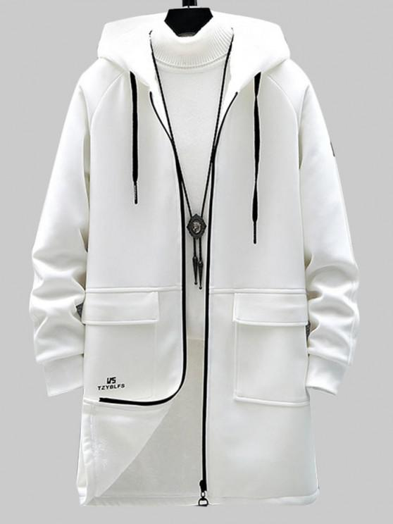 affordable Zip Up Slogan Graphic Fleece Lined Hoodie Coat - WHITE S