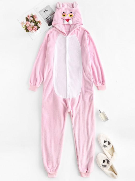 shop 3D Ear Hooded Tiger Embroidered Sleep Plush Onesie - LIGHT PINK S