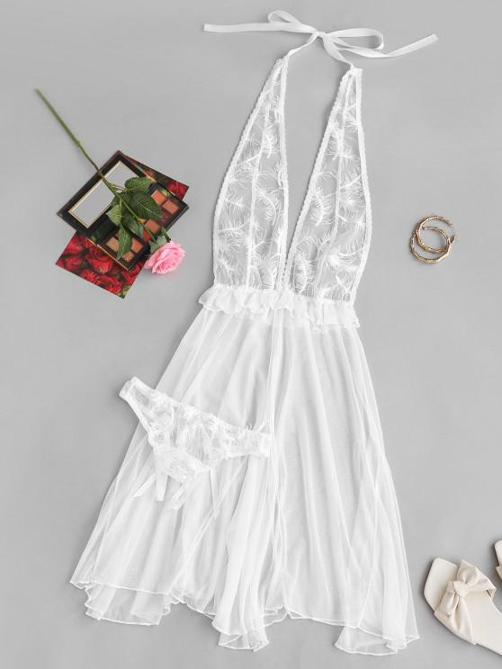 womens Halter Feather Embroidered Ruffled Lingerie Negligee - WHITE ONE SIZE