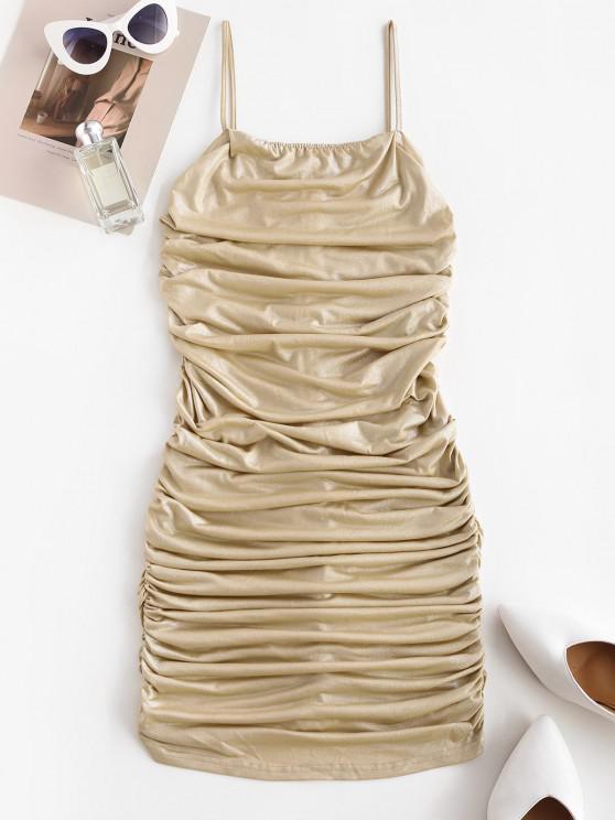 women Ruched Sheeny Bodycon Cami Dress - DEEP YELLOW M