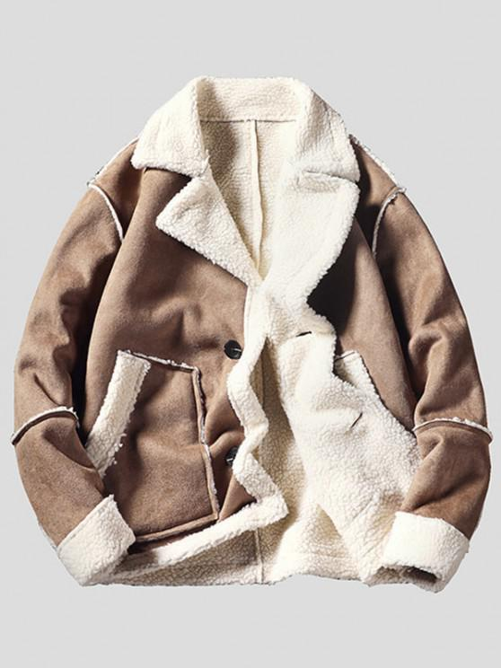 buy Pockets Button Up Faux Suede Faux Shearling Jacket - LIGHT BROWN M