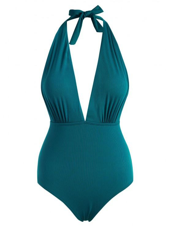 online ZAFUL Plus Size Halter Ribbed Drop Armhole One-piece Swimsuit - DEEP GREEN XXXXL