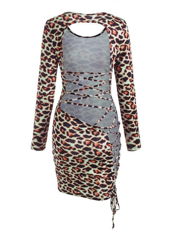Vestido Grueso con Cordones y Espalda Descubierta de Leopardo - Multicolor L
