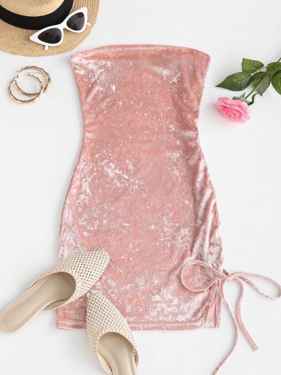shops Lace Up Strapless Velvet Slit Mini Dress - LIGHT PINK M