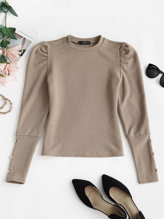 outfits Metallic Buttons Solid Puff Sleeve Top - LIGHT COFFEE L