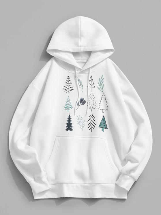 online Christmas Tree Leaves Print Fleece Hoodie - WHITE 2XL