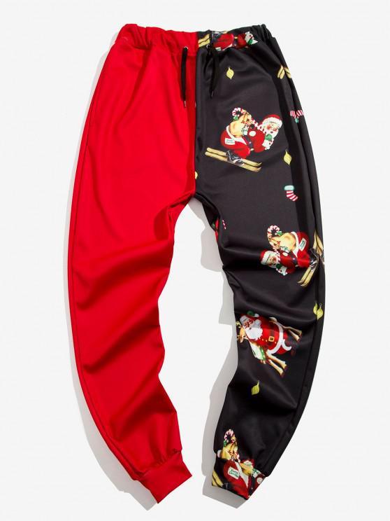 Navidad Santa Claus Imprimir Contraste Pantalones Cortos - Rojo XL