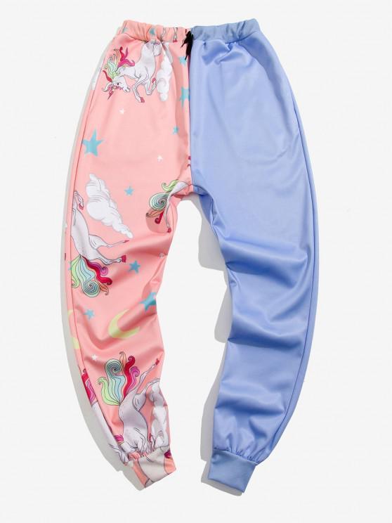 Star Unicorn Print Contrast Sports Pants - أزرق فاتح 2XL