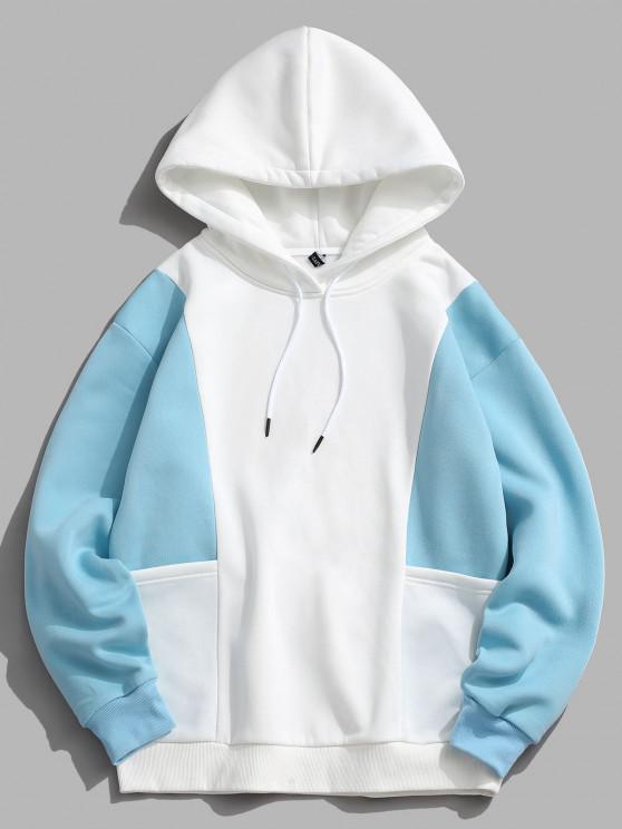 hot ZAFUL Contrast Double Pockets Fleece Hoodie - LIGHT BLUE L