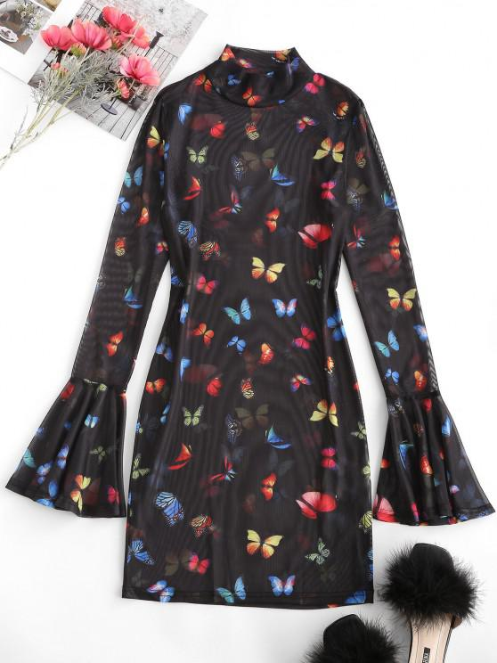 women Flare Sleeve Mesh Butterfly Print Bodycon Dress - BLACK M