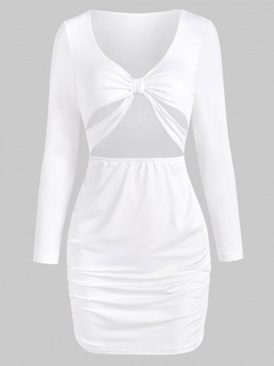 Verknotetes Ausschnitt Langarm Bodycon Kleid - Weiß L