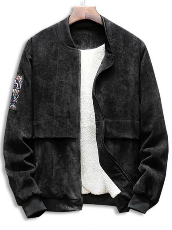 online Graphic Zip Up Fleece Lined Corduroy Jacket - BLACK S