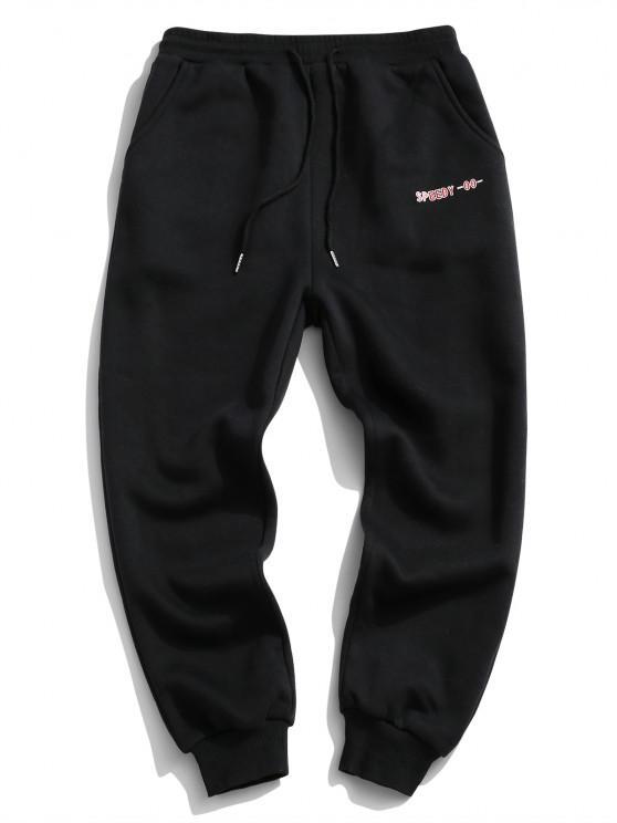 shop ZAFUL Letter Applique Drawstring Fleece Sweatpants - BLACK S