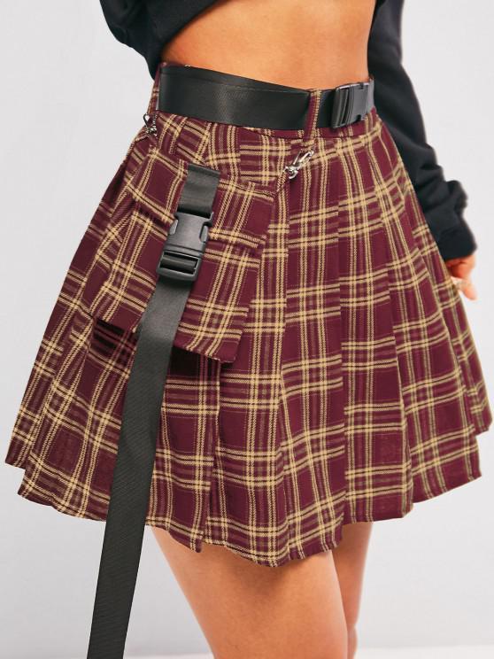buy ZAFUL Plaid Pleated Detachable Pocket Mini Skirt - RED S