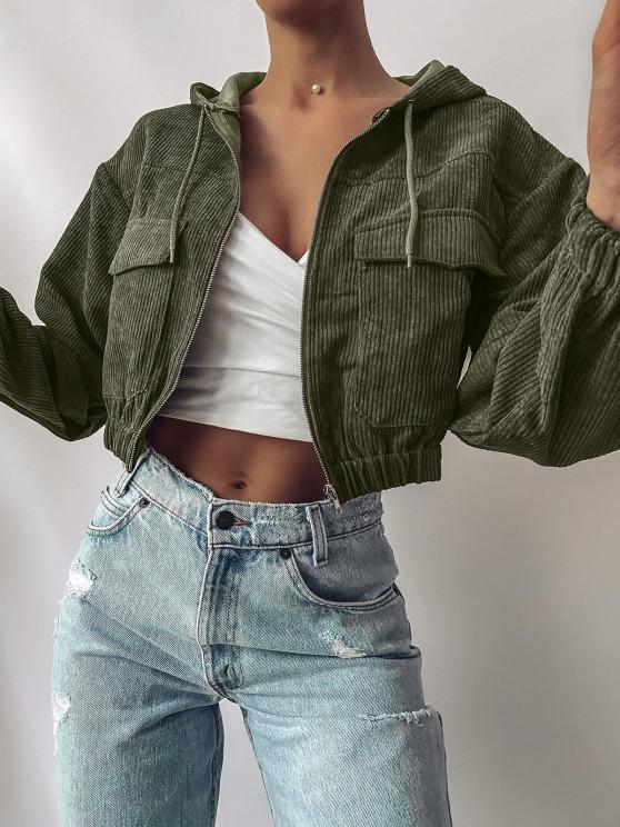 latest ZAFUL Corduroy Drop Shoulder Pocket Hooded Jacket - GREEN XL