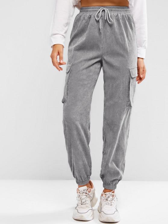 sale ZAFUL Pockets Drawstring Corduroy Pants - LIGHT GRAY S