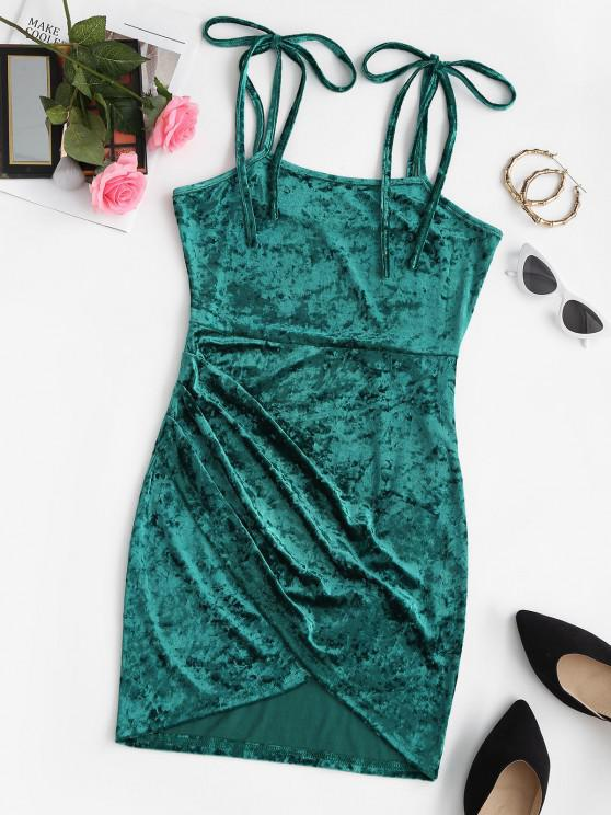 chic ZAFUL Tie Shoulder Velvet Mini Tulip Party Dress - GREENISH BLUE L