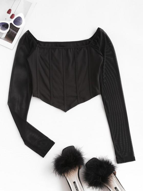 unique Mesh Sheer Off Shoulder Boned Crop Tee - BLACK L