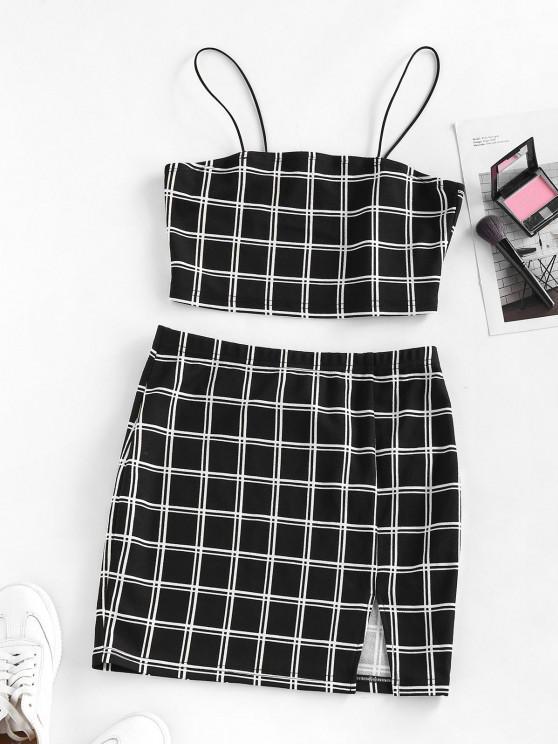 buy ZAFUL Windowpane Check Slit Mini Skirt Set - BLACK L