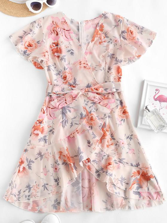 shops Floral Ruffles Belted Flutter Sleeve Surplice Dress - MULTI M