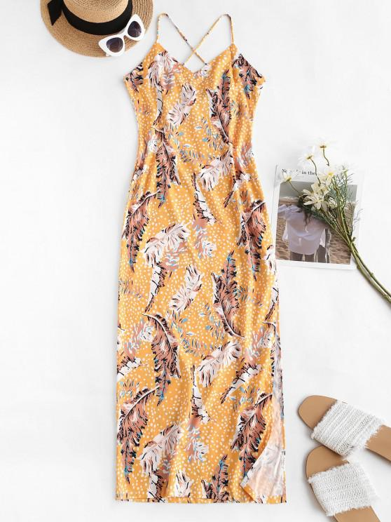 affordable Spaghetti Strap Leaf Print Side Slit Slinky Maxi Dress - DEEP YELLOW M