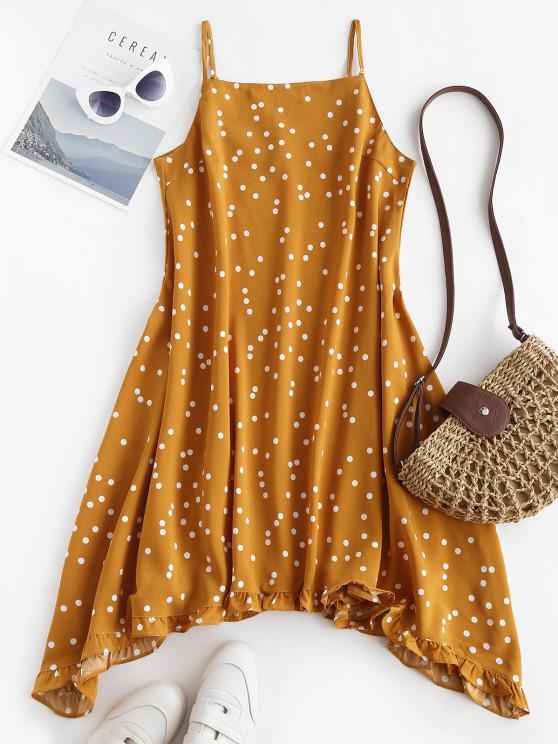 trendy Spaghetti Strap Polka Dot Ruffled Trapeze Dress - DEEP YELLOW M