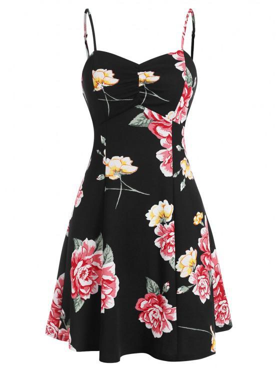new ZAFUL Floral Print Lace Up Mini Cami Dress - BLACK L