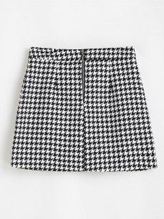 Houndstooth Zip Front Tweed Skirt - Black S