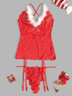 Garter Slip Faux Feather Christmas Lingerie Basque - Red