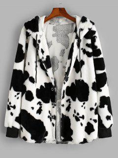 ZAFUL Hooded Cow Pattern Fluffy Jacket - White L
