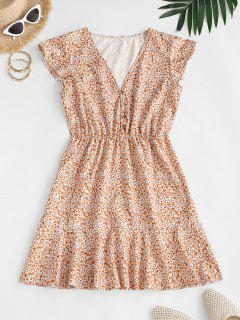 Ditsy Print Flounce A Line Dress - Deep Yellow S