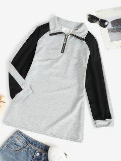 Zip Front Raglan Sleeve Tunic Sweatshirt Dress - Gray S