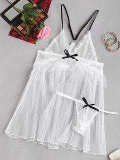 Bowknot Mesh Lace Cups Bridal Babydoll Set - White