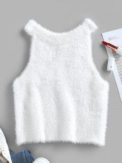 ZAFUL Fuzzy Cutaway Crop Sleeveless Sweater - White M