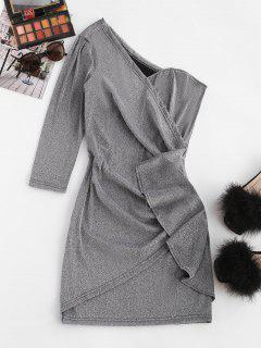 Metallic Thread Skew Neck Draped Mini Dress - Light Gray M