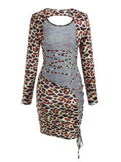 Leopard Backless Lace-up Slinky Dress - Multi L