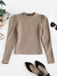 Metallic Buttons Solid Puff Sleeve Top - Light Coffee M