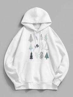 Christmas Tree Leaves Print Fleece Hoodie - White M