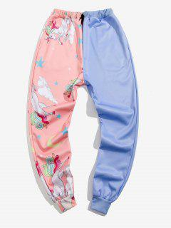 Star Unicorn Print Contrast Sports Pants - Light Blue L