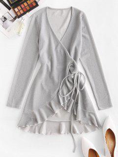 Metallic Thread Flounce Tie Wrap Dress - Light Gray L