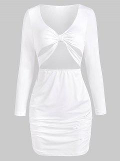 Knot Cutout Long Sleeve Bodycon Dress - White S