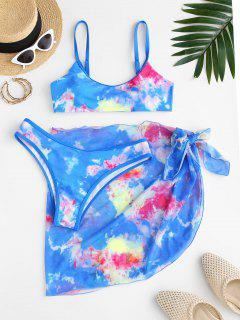 ZAFUL Tie Dye Binding Bikini With Sarong Skirt Set - Blue L