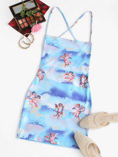 Angel Print Lace Up Renaissance Art Mini Dress - Light Blue S