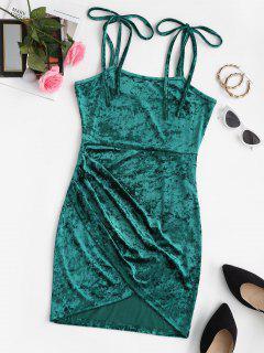 ZAFUL Tie Shoulder Velvet Mini Tulip Party Dress - Greenish Blue S