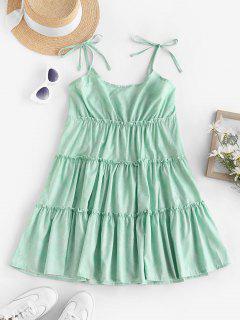 Vestido De Verão Com Franzido E Costa Cruzada Nas Costas - Luz Verde M